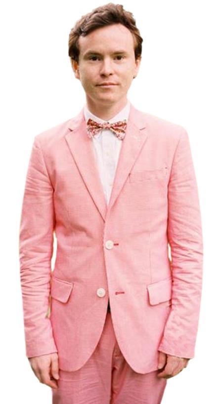 men's 2 Button Slim Fit Notch Lapel 2 Piece Hot Pink Tuxedo Men's 2 Piece Linen Causal Outfits Wedding Tuxedo Suit / Beach Wedding Attire For Groom