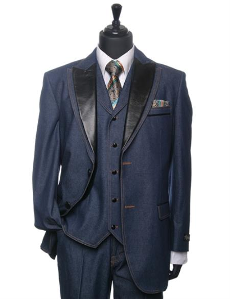 Product# PN76 Cobalt ~ Indigo~ teal Denim Tuxedo 3 Piece Athletic Cut Suits Classic Fit