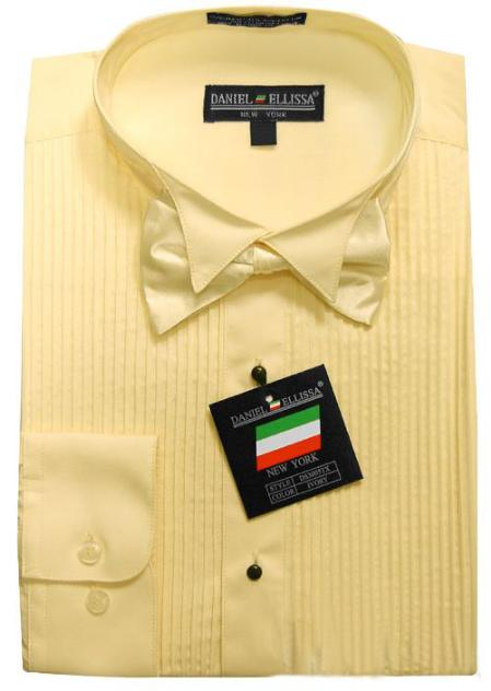 Product# TUX8811 Ivory Yellow Tuxedo Dress Shirt with Bowtie & Studs