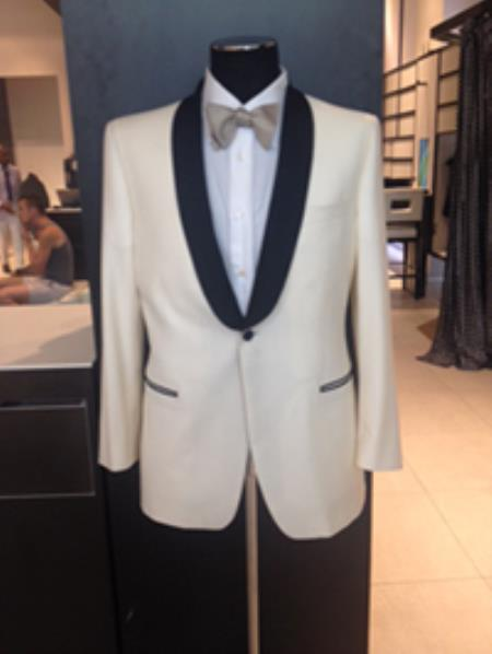 Product# Pn-R51 Dress Formal Ivory ~ Cream ~ Off White Dinner Jacket ~ Tuxedo ~ Blazer Online Sale ~ Sport Coat Liquid Jet Black Lapel