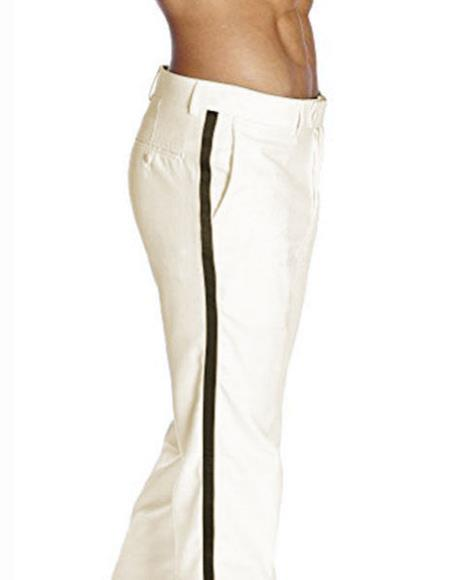 Product# JSM-2390 Men's Black Satin Stripe Classic Fit Solid Ivory Tuxedo Flat Front Pant