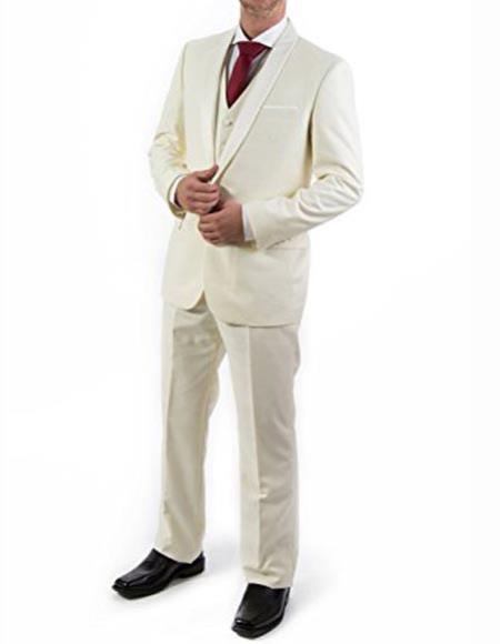Product# JSM-2503 Men's Ivory ~ Cream ~ Off White 3 Piece Shawl Lapel Tuxedo Suit Vested Suit 100% wool Super 150's