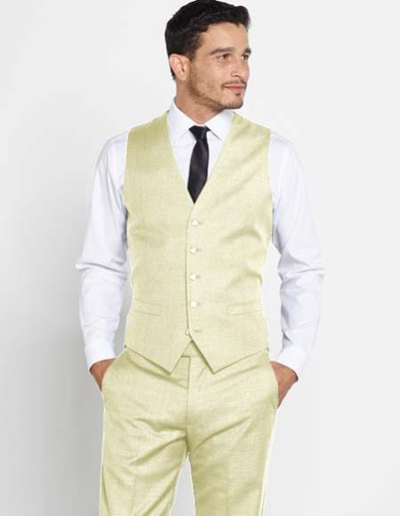 Product# JSM-2437 Men's Groomsmen Attire Outfit Vest With Matching Regular Fit Dress Pants Set + Any Color Ivory Shirt & Tie