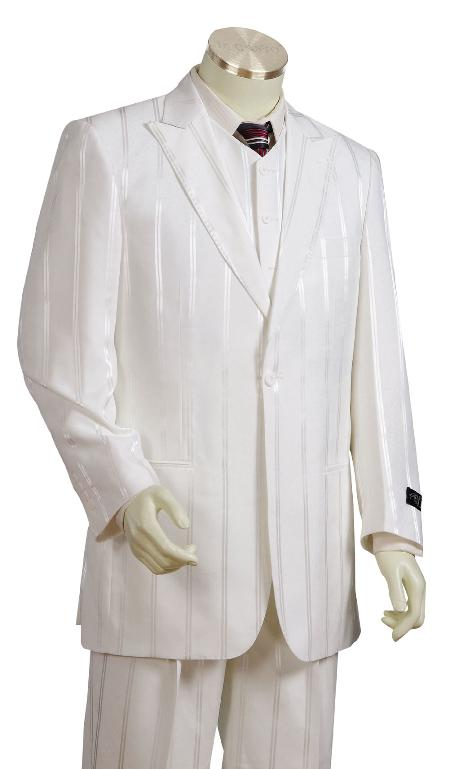 BH6782 3 Piece Off white Cream Ivory Long length Zoot Suit