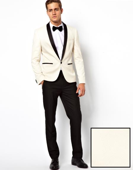Product# F-87A Ivory ~ Cream ~ Off White Shawl Collar Tuxedo Dinner Jacket / Blazer Online Sale Liquid Jet Black Trouser