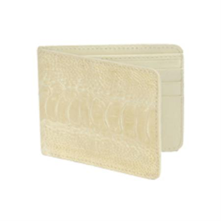 Product# KA7336 Wild West Boots Wallet- Cream ~ Ivory ~ Off White Genuine Exotic Ostrich Leg
