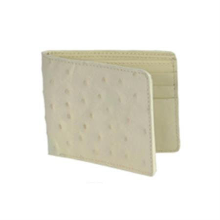 Product# KA8706 Wild West Boots Wallet- Cream ~ Ivory ~ Off White Genuine Exotic Ostrich Leg