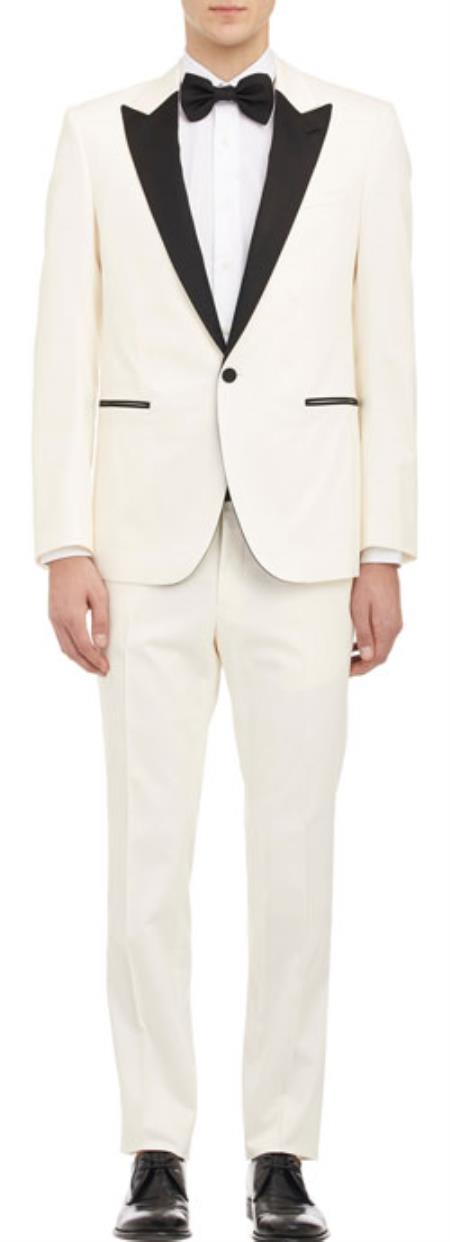 Product et41c cream off white ivory tuxedo 1 button sty for Tuxedo shirt black buttons