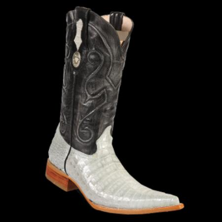 Product# KA6901 New Reg: $795 discounted Online Sale clearance diamonds Boots-Crocodile ~ Alligator skin Belly 3x-Toe Cowboy Boots - Cream ~ Ivory ~ Off White Silver
