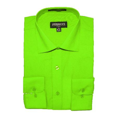 Product# LMG82 Slim narrow Style Fit Dress Shirt - Lime ~ Apple Green
