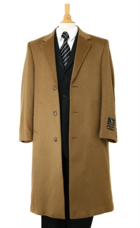 Product# SP Harward Luxurious soft finest Pure Cashmere&Wool Fabric Full Length Dark Camel ~ Khaki Topcoats ~ overcoats outerwear