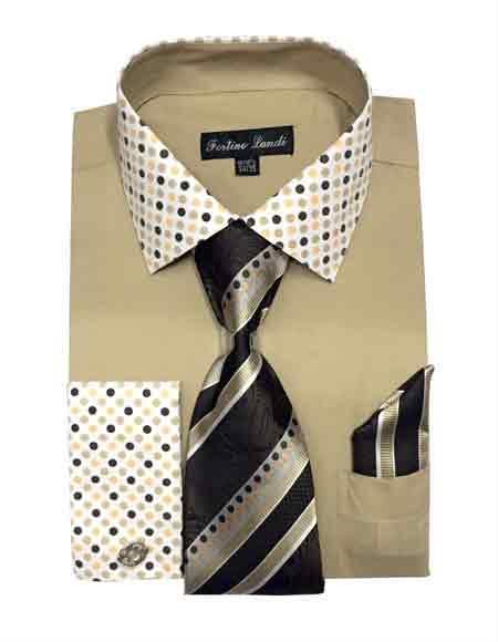 Mens Khaki Fashionable Solid/Polka