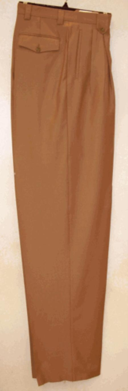 Product#AV721 long rise big leg slacks Camel ~ Khaki Wide Leg Dress Pants Pleated Slacks baggy dress trousers