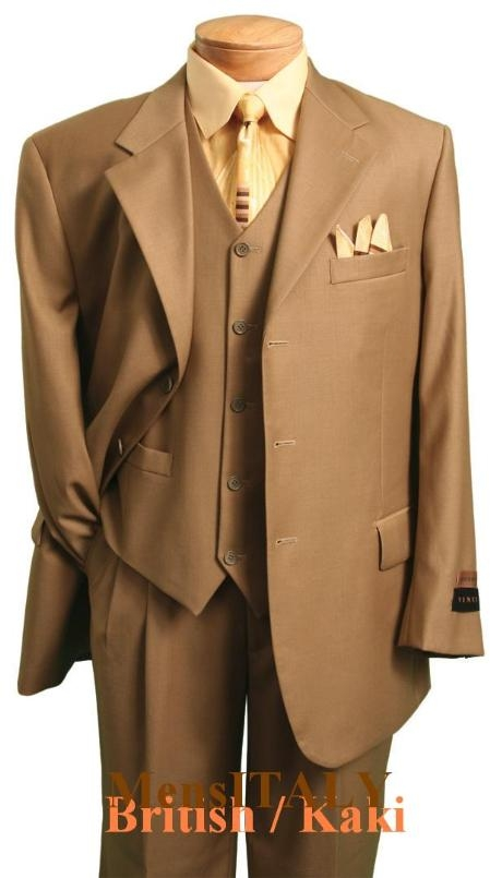 Product# 112 MU3TR3 2 Button British/khaki Classic and sophisticated three piece dress suit