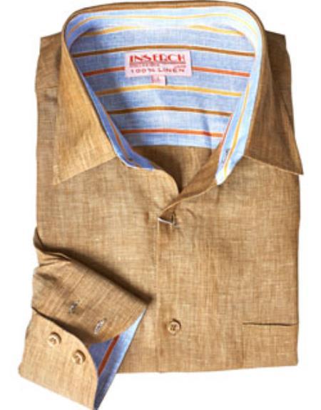 Khaki Linen Dress Shirt