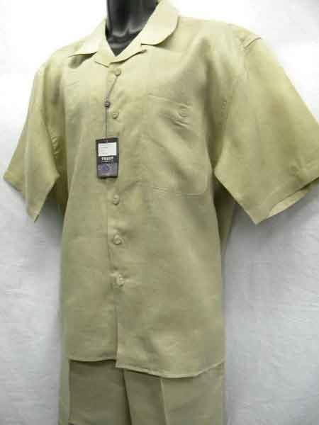 Khaki Big Size Linen 2 Piece Short Sleeve trendy casual Outfit Walking Suit