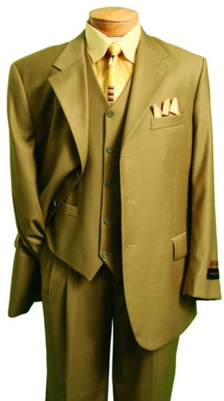 Fashion three piece suit in Superior Fabric 150's Luxurious Wool Fabric Feel British Khaki