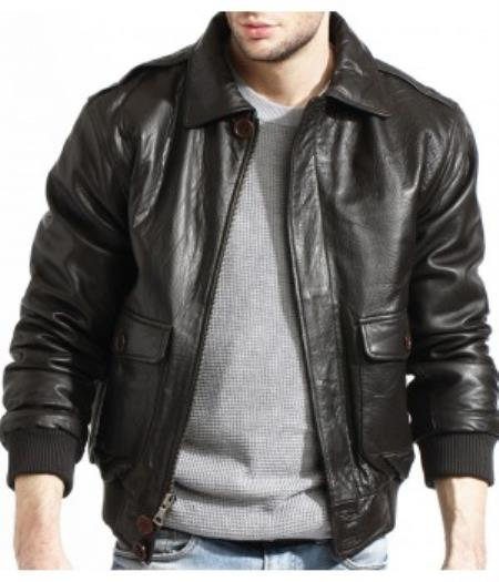 Product# PN-U82 Military Genuine Lamb Liquid Jet Black Leather Flight Pilot Bomber Jacket Available in Big and Tall Sizes