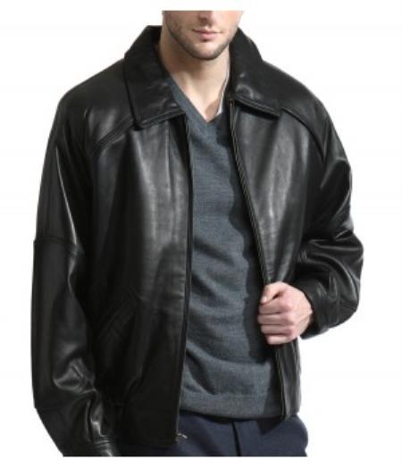 Jet Black Leather Bomber