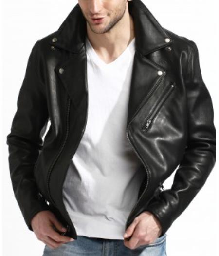 Genuine Lambskin Leather Biker