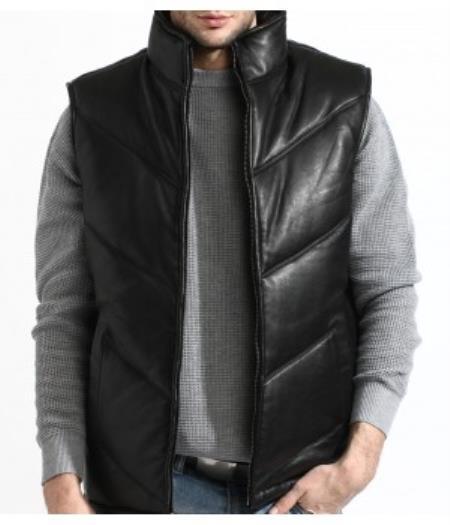 Leather Padded Bubble Vest