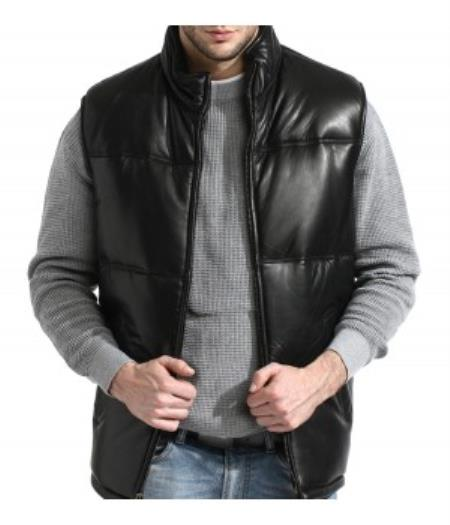 A Classic Padded Bubble Vest In An A-GRADE, SOFT Lambskin Leather Liquid Jet Black Available in Big and Tall Sizes