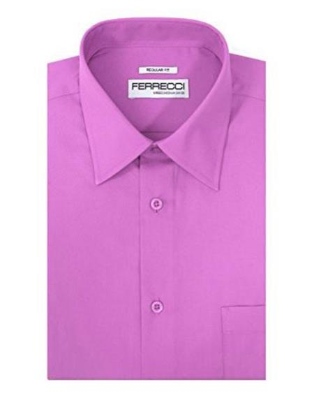 Product# JSM-1856 Men's Ferrecci Cotton Blend Classic Regular Fit Barrel Cuffs Lavender Dress Shirt