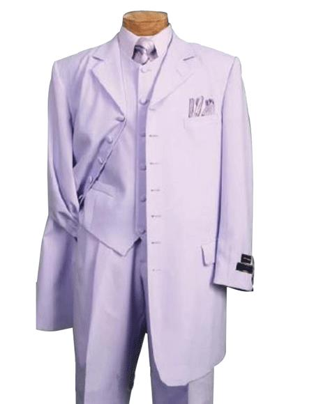 Lavender 1940s men's Suits Style For sale ~ Pachuco men's Suit Perfect for Wedding 3PC FASHION Long length Zoot WITH VEST Cover Buttons Comes