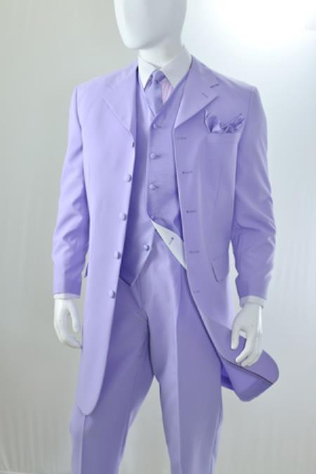 Product# PN70 Lavender 3 Piece Reverse Vest Long length Zoot 1940s Mens Suits Style For sale ~ Pachuco Mens Suit Perfect for Wedding