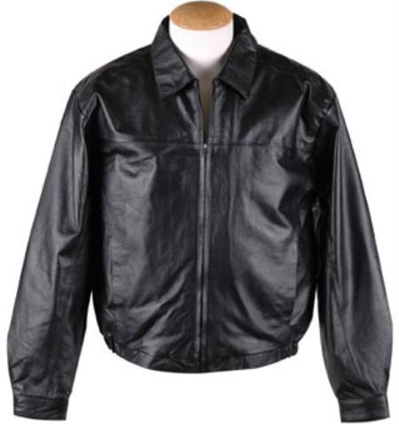 Zip-Out Liner Leather JD Bomber Jacket Black Available in Big and Tall Sizes
