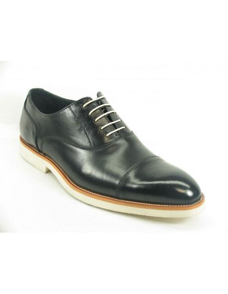 Product# JSM-5659 Men's Black Fashionable Carrucci Genuine Leather Oxford Shoes With White Sole