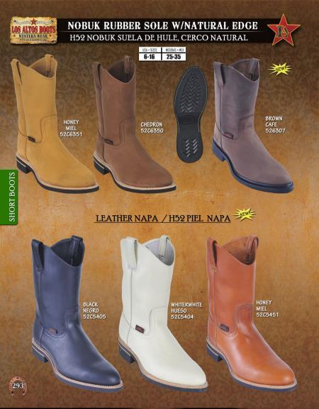 Product# TK89 Authentic Los altos Leather & Nobuk w/ Natural Edge Short Boots Diff. Colors/Sizes