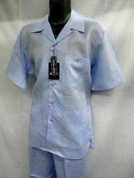 Light Blue Linen 2 Piece Walking Suit Short Sleeve trendy casual Shirt & Pant