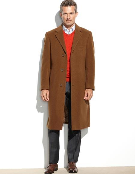 Product# JSM-1037 Men's Light Brown & Dark Camel Vicuna Color Wool & Cashmere 48 Inch Long Overcoat ~ Topcoat