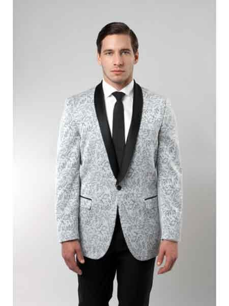 Grey Tuxedo Floral Satin Unique Shiny Fashion Prom Liquid Jet Black Lapel Two Toned Blazer Online Sale Dinner Jacket Paisley Sport Coat Sequin Shiny Flashy Silky Satin Stage Fancy Stage Party Dance Jacket Silver Light Gray ~ Grey