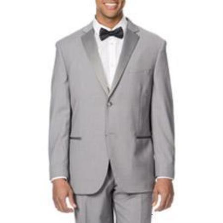 Product# QY87L Light Grey ~ Gray Silver Satin-detailed tuxedo Suits for Online Jacket , Pants Suit Silver