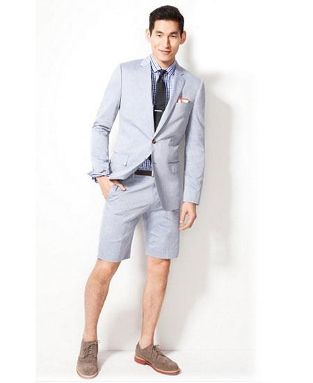 Men's Summer Business Suits With Shorts Pants Set (Sport Coat Looking) Light Gray