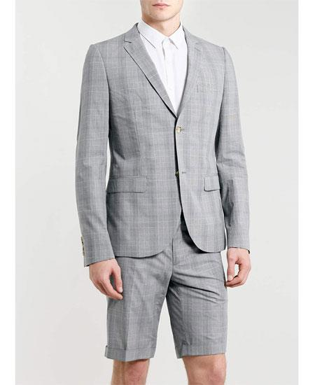 Men's Summer Light Gray Business Suits With Shorts Pants Set (Sport Coat Looking)