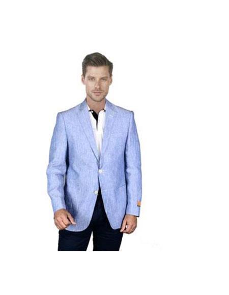 Light Sky Baby Blue Men's 2 Piece Linen Causal Outfits Blazer Online Sale Sport Coat Jacket / Beach Wedding Attire For Groom