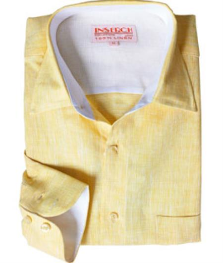 Product# RM1832 Online Sale Linen Dress Shirt Summer Yellow