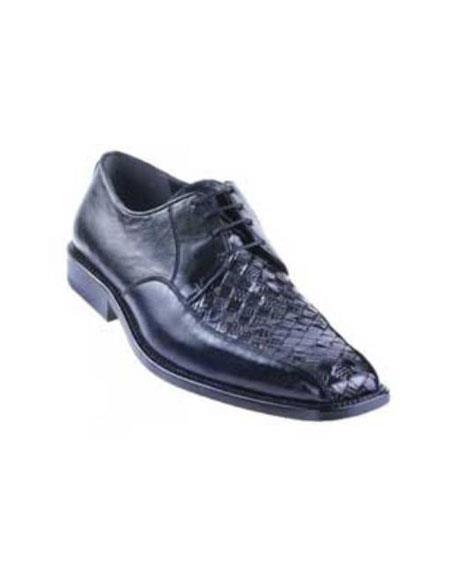Liquid Jet Black Basket Wave Genuine Lizard Shoes for Online