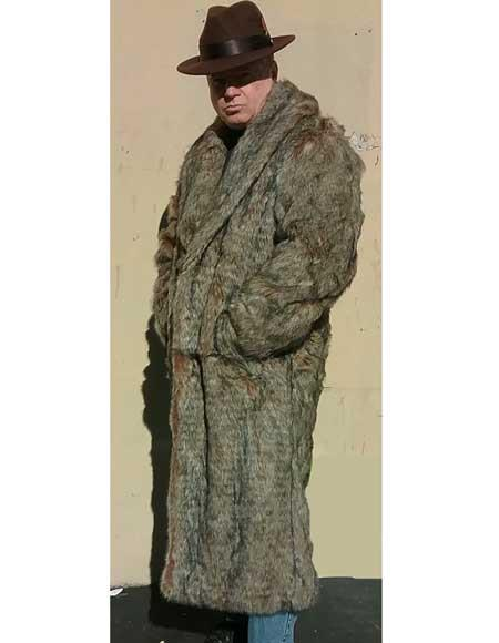 Mens Faux Fur Long