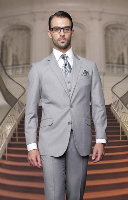Product# PN_L52 Big And Tall Or Extra Long Tall Vested Three piece 100% Wool Fabric Italian