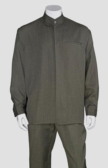 Product# JSM-3299 Men's Olive Long Sleeve Mandarin / Banded Collar Casual Walking Suit