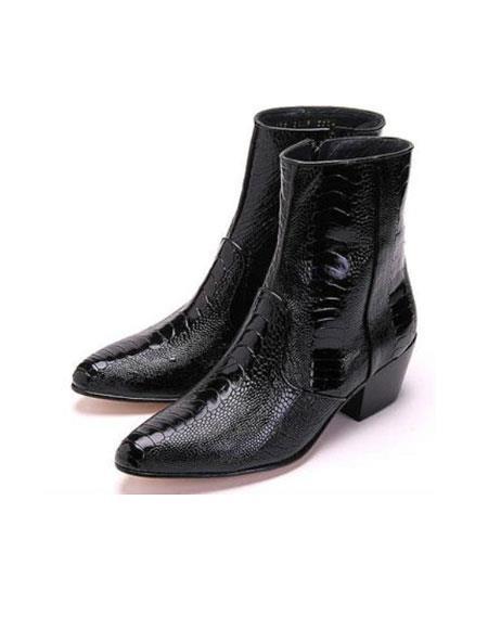 Product# MK828 Authentic Los altos Genuine Ostrich Higher Heel Paw Liquid Jet Black Dress Boot