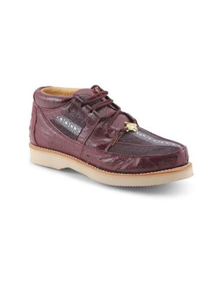 Product# MK875 Authentic Los altos Genuine Stingray skin & Ostrich Four Eyelet Lacing Burgundy Shoes for Online