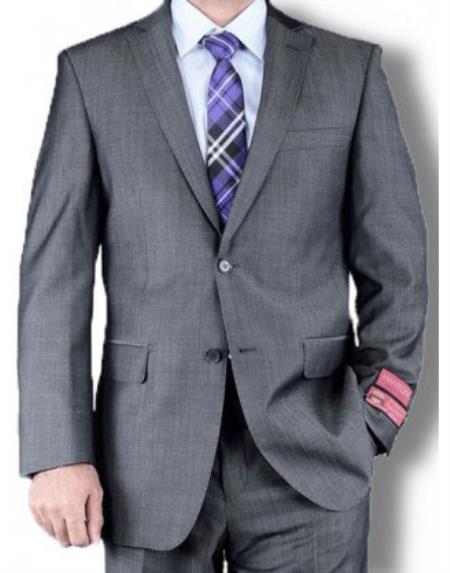 Product# RM1509 Mantoni Solid Single Breasted Jacket Suit Medium Gray