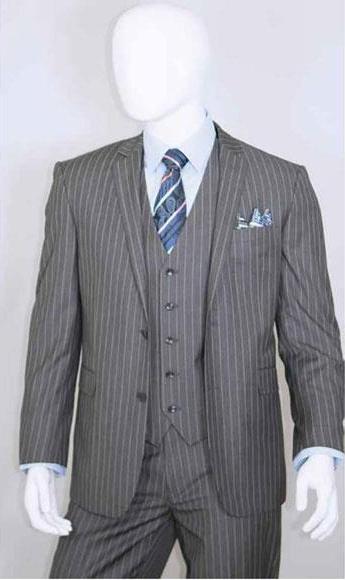 Men's 2 Buttons Bold Chalk White Stripe With Vest 3 Pieces Medium Grey ~ Gray PinStripe