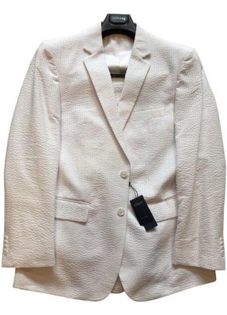 Seersucker Suit mens Modern Fit Striped Cotton Blend White Cheap priced men's Seersucker Suit Sale Suit ( Jacket and Pants)  For Men