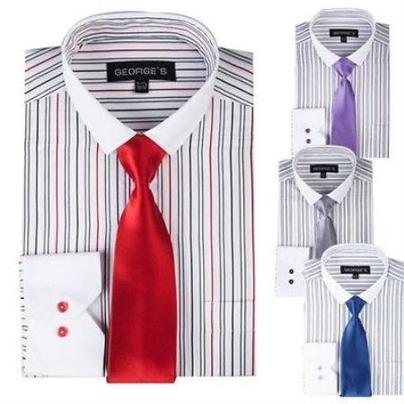 Product# PN_X21 Striped Dress Shirt With Solid Tie And Slim narrow Style Collar Style Multi-Color